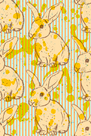 Sketch rabbit, vector vintage seamless pattern Vector