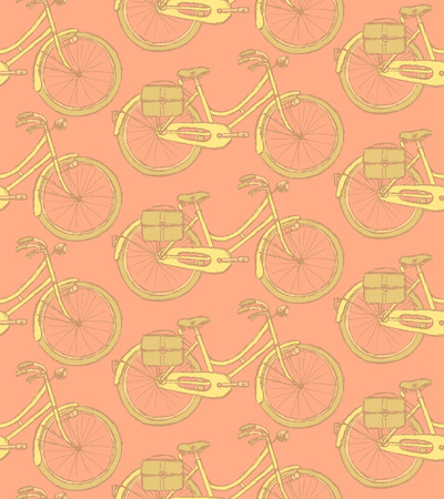 velocipede: Sketch bicycle, vector vintage seamless pattern