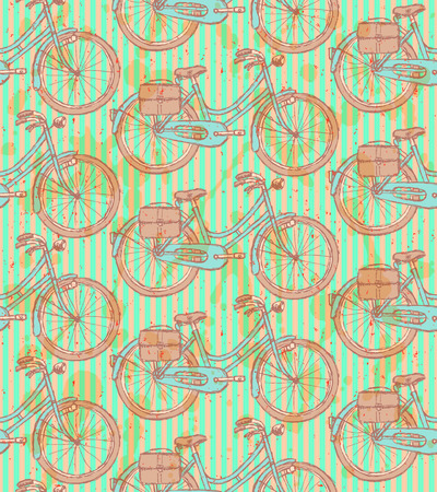 Sketch bicycle, vector vintage seamless pattern  Vector