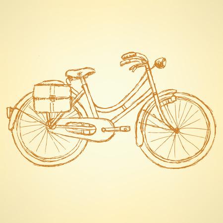 velocipede: Sketch bicycle, vector vintage background