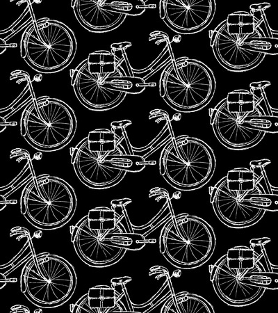 Sketch bicycle, vector vintage seamless pattern eps 10 Vector