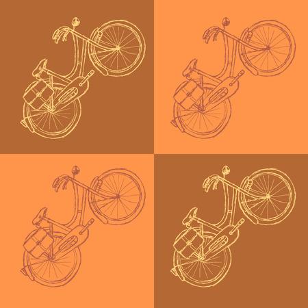 Sketch bicycle, vector vintage background  Vector