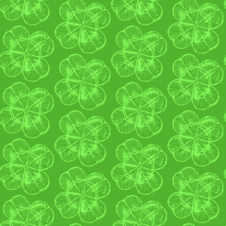 Sketch clover, vector vintage seamless pattern, saint Patrick day symbol Vector