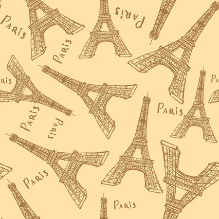 Sketch Eiffel tower, vector vintage seamless pattern Vector