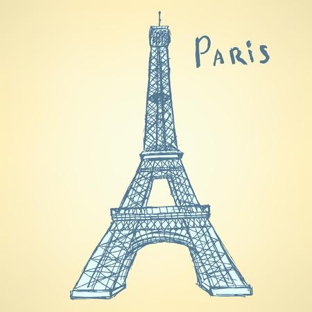 Sketch Eiffel tower, vector vintage background  Vector