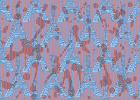 Sketch Eiffel tower, vector vintage seamless pattern Vector