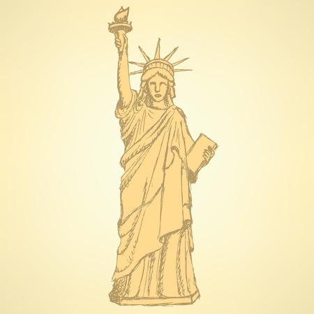 Sketch statue of liberty, vector vintage background Vector
