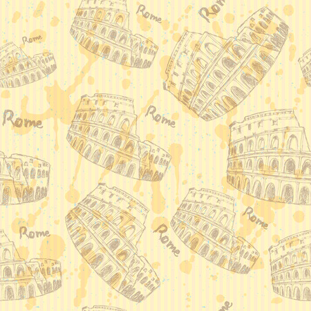colloseum: Sketch Coliseum, vector vintage seamless pattern