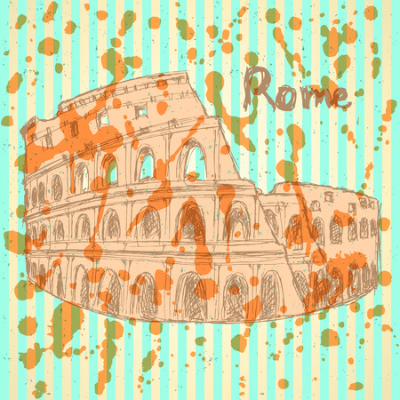 colloseum: Sketch Coliseum, vector vintage background