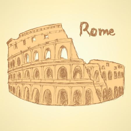 colloseum: Sketch Coliseum, vector vintage background Illustration