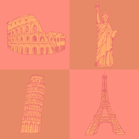 Sketch Eifel tower, Pisa tower, Coloseum and Statue of Liberty, vector vintage set Vector