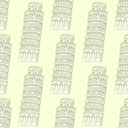 Sketch Pisa tower, vector vintage seamless pattern Vector