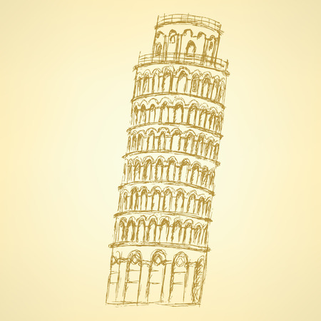 Sketch Pisa tower, vector vintage background  Vector