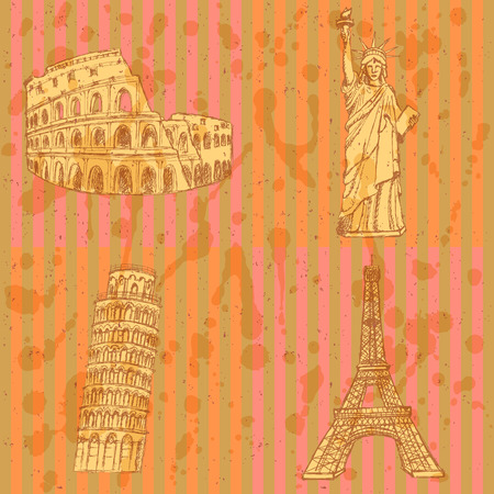 eifel: Sketch Eifel tower, Pisa tower, Coloseum and Statue of Liberty, vector vintage set