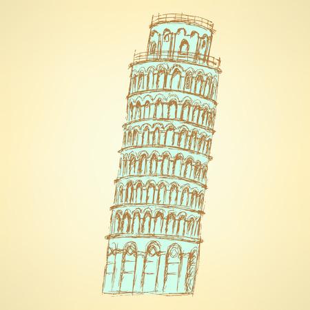 Sketch Pisa tower, vector vintage background  Vector