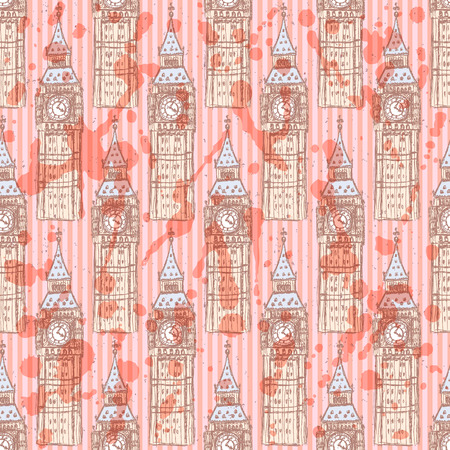 Sketch Big Ben, vector vintage seamless pattern Vector