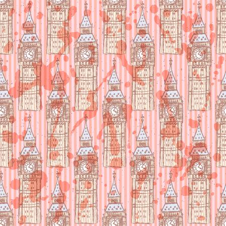 houses of parliament london: Sketch Big Ben, vector vintage seamless pattern Illustration