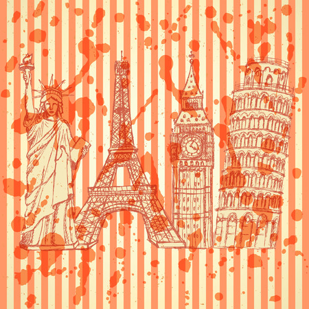 Sketch Eifel tower, Pisa tower, Big Ben and Statue of Liberty, vector vintage background Vector