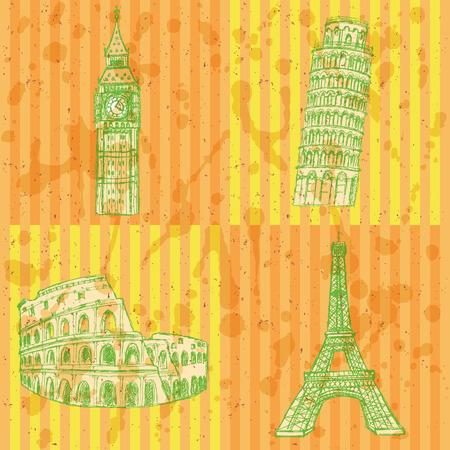 colloseum: Sketch Eifel tower, Pisa tower, Big Ben and Coliseum, vector vintage set Illustration