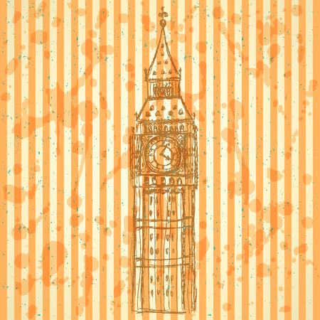 Sketch Big Ben, vector vintage background  Vector