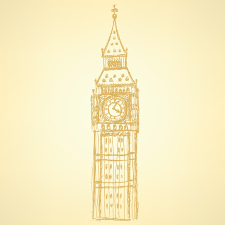 houses of parliament london: Sketch Big Ben, vector vintage background Illustration