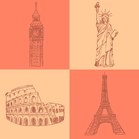 Sketch Eifel tower, Coliseum, Big Ben and Statue of Liberty, vector vintage set Vector