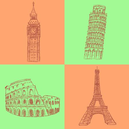 lament: Sketch Eifel tower, Pisa tower, Big Ben and Coliseum, vector vintage set Illustration
