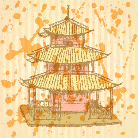 chinatown: Sketch Chinese temple, vector vintage background