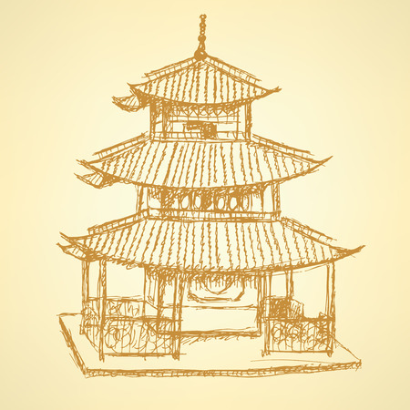 Sketch Chinese temple, vector vintage background  Vector