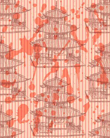 chinatown: Sketch Chinese temple, vector vintage seamless pattern Illustration