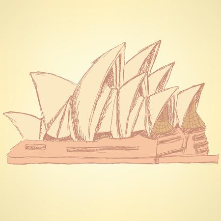 Sketch Sydney opera, vector vintage background eps 10 Vector