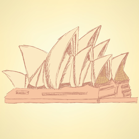 Sketch Sydney opera, vector vintage background eps 10 Vettoriali