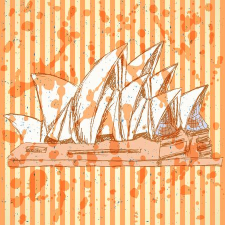 Sketch Sydney opera, vector vintage background  Vector