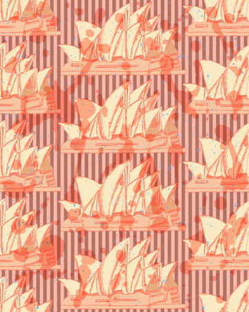 Sketch Sydney opera, vector vintage seamless pattern Vector