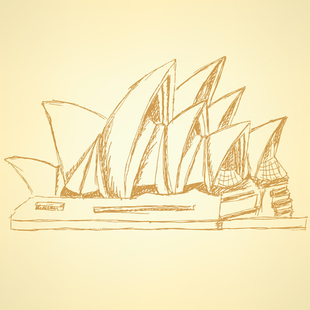 Sketch Sydney opera, vector vintage background