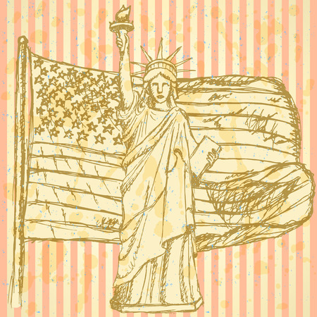 Sketch USA flag and Statue of Liberty, vector vintage background Vector