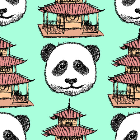 Sketch Chinese temple and panda, vector vintage seamless pattern Vector