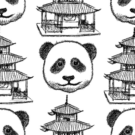 chinatown: Sketch Chinese temple and panda, vector vintage seamless pattern