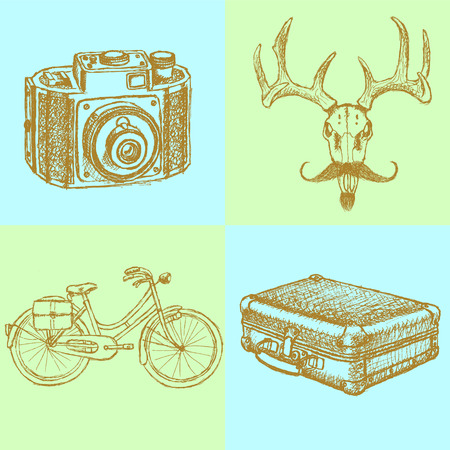 Sketch deer with mustache, suitecase, bicycle and photo camera, vector hipster background   Vector