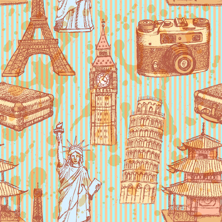 Sketch Eiffel tower, Pisa tower, Big Ben, suitecase, photocamera, Chinese temple and Statue of Liberty, vector vintage seamless pattern Vector