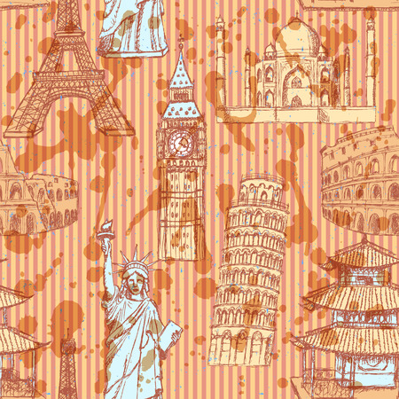 Sketch Eiffel tower, Pisa tower, Big Ben, Taj Mahal, Coliseum, Chinese temple and Statue of Liberty, vector vintage seamless pattern Vector