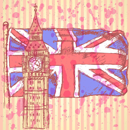 Sketch Big Ben on tile with UK flag, vector vintage background Vector
