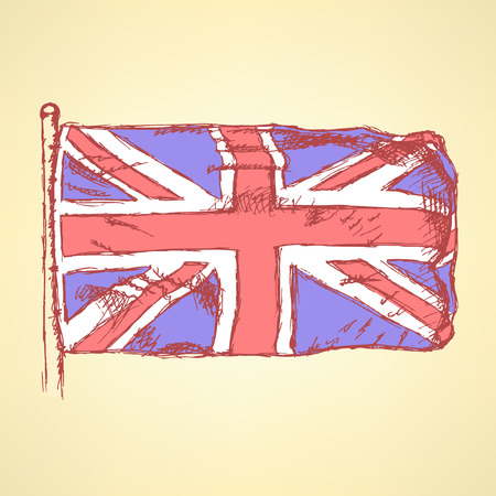 Sketch Unaited Kingdom flag, vector vintage background Vector
