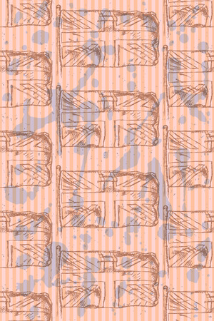 Sketch flag of UK, vector vintage seamless pattern Vector