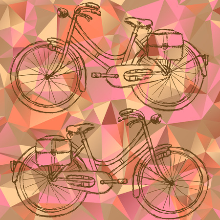 Sketch bicycle on triangles background eps 10 Vector