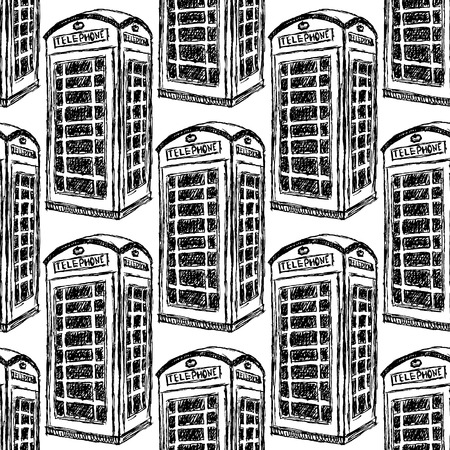 Sketch London phone cabins vintage seamless pattern Vector