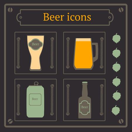 jarra de cerveza: Iconos de la cerveza establecidas, tarro, vidrio, botella y copa Vectores