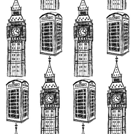 Sketch Big Ben and phone cabins vintage seamless pattern Vector