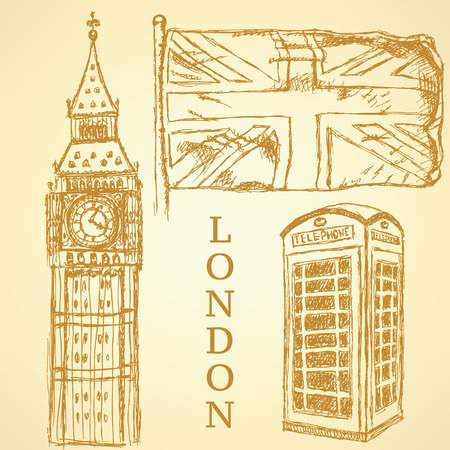 Sketch Big Ben, UK flag and phone cabin vintage background Vector