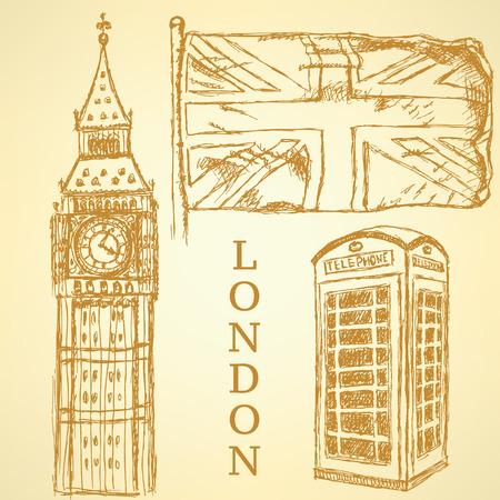 Sketch Big Ben, UK flag and phone cabin vintage background